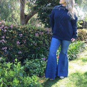 Navy Blue Chunky Knit Fringe Sweater Size Large